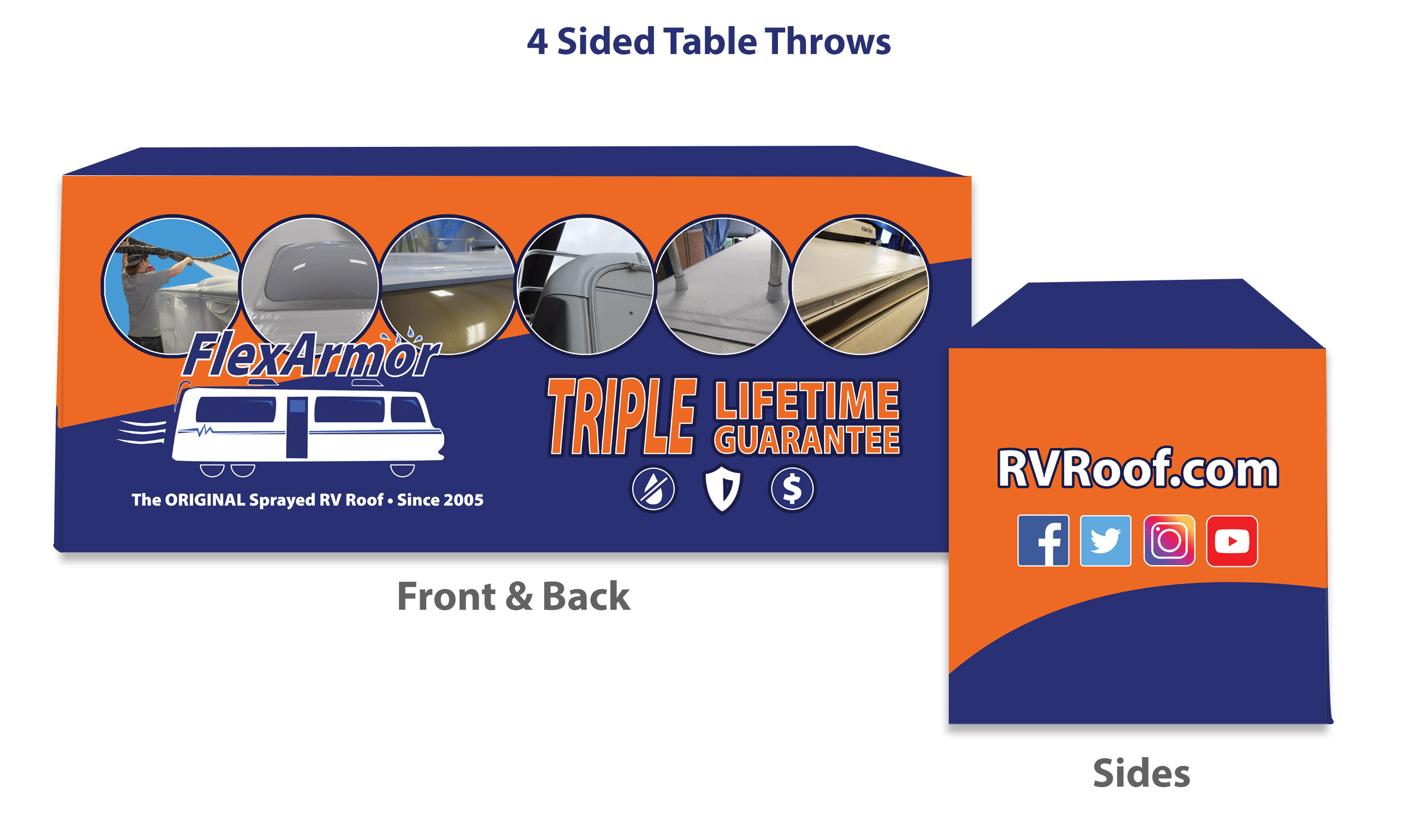 Graphic rendering of trade show table cover