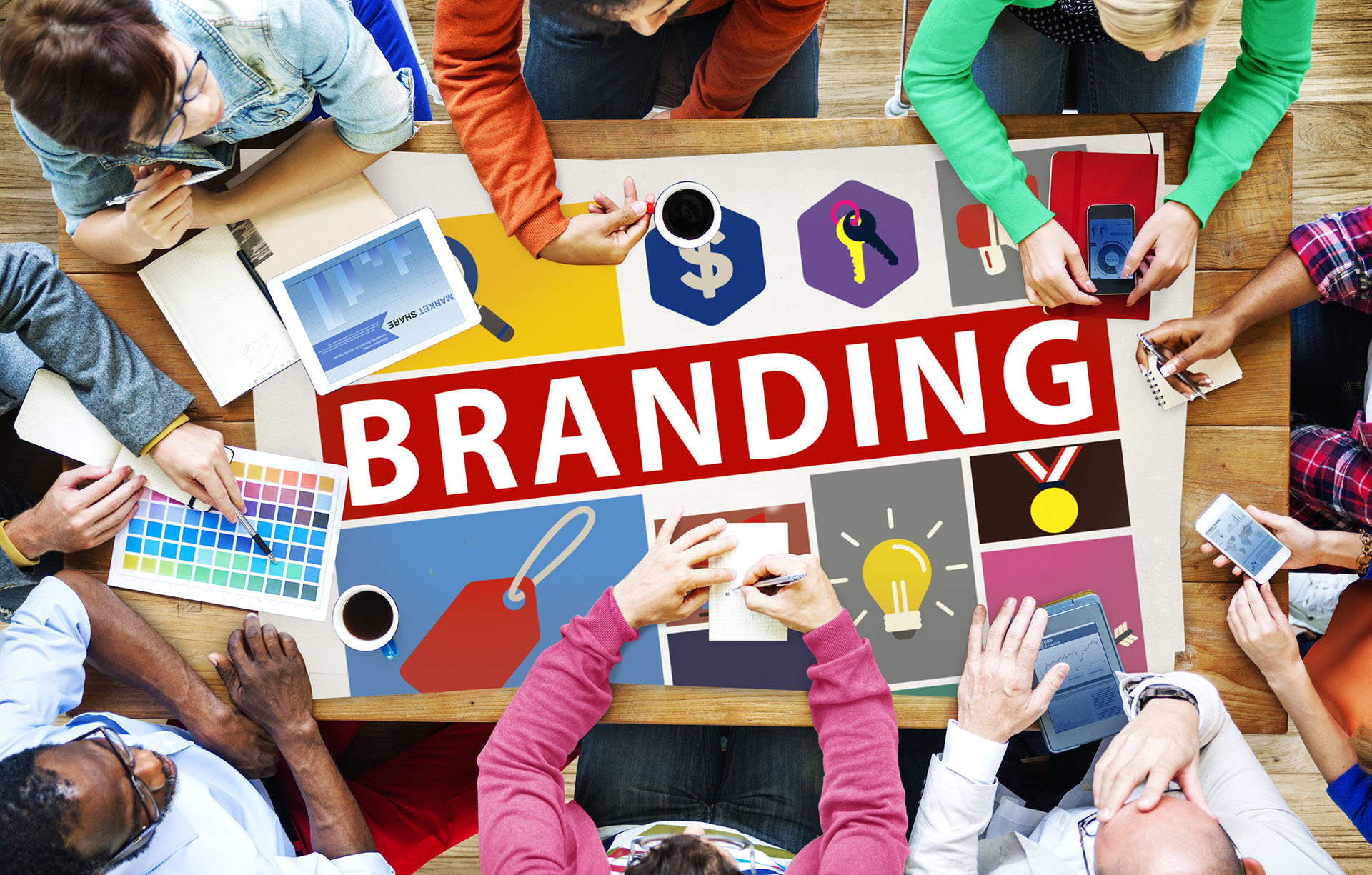 Group building logos and branding