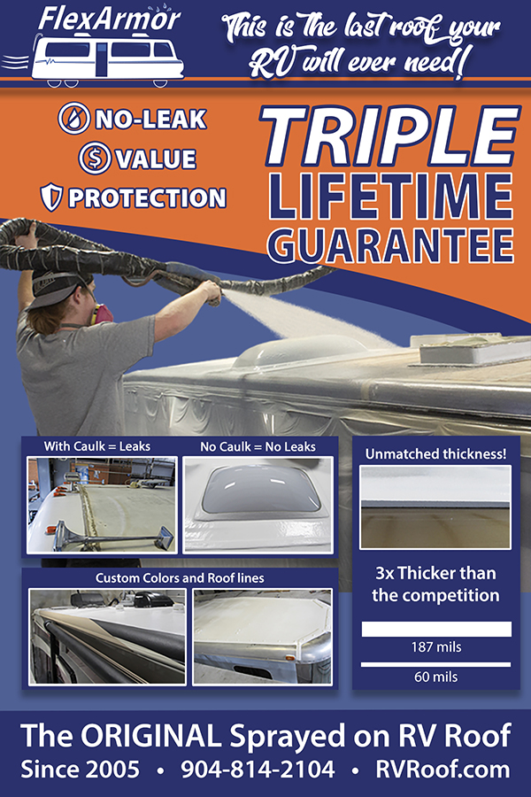 rv roof flexarmor ad for newsletter shows spraying on roof of rv, thickness, colors, rooflines