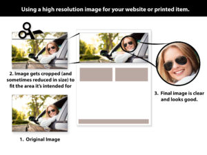 graphic showing how high resolution images are used in web and print designs